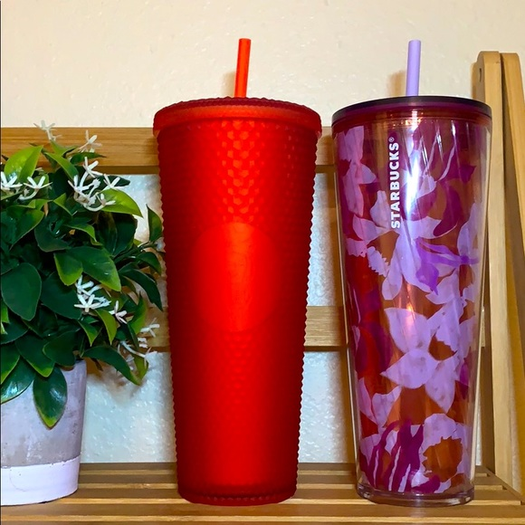 Starbucks Matte red studded and iris tumbler cup